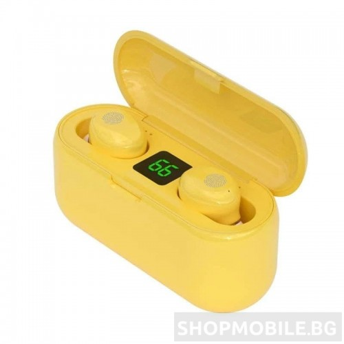 Безжични слушалки F9, Wireless BT V5.0, Waterproof, Powerbank 2000mAh