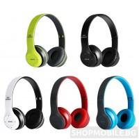 Безжични Bluetooth слушалки P47 Wireless, FM радио, MP3 player, Вграден микрофон, Micro SD вход