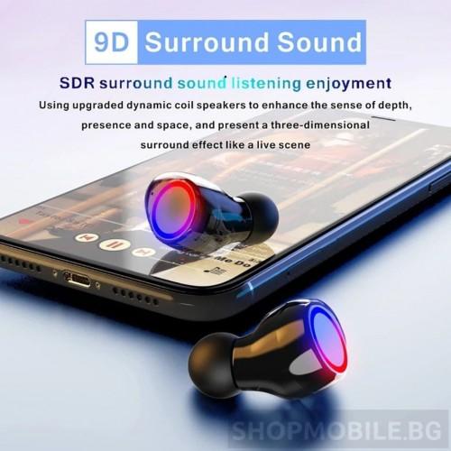 Безжични слушалки TWS M12, Bluetooth 5.0, Powerbank 2000 mAh