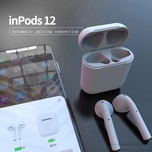 Безжични слушалки i12 TWS Bluetooth 5.0 с тъч контрол и 3D звук, Бели