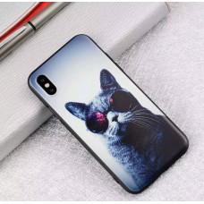 Мек силконов кейс с коте с очила за Iphone 7+/8+